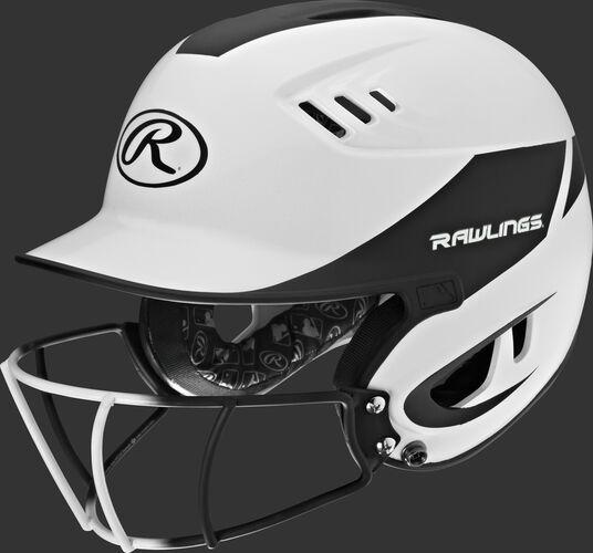 A white/black R16H2FGS Velo senior batting helmet with a white/black facemask