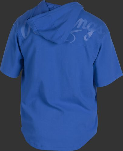 Back of a royal Rawlings Gold Collection short sleeve hoodie with a royal script Rawlings logo across the back - SKU: GJJ-R