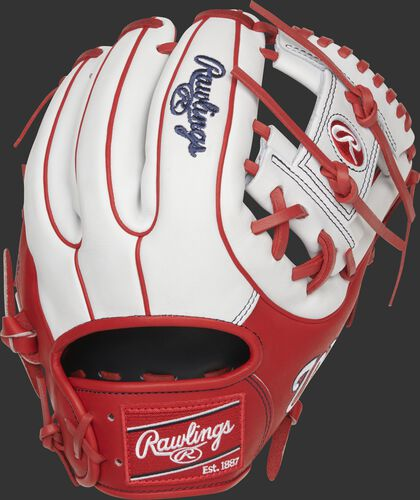 White/scarlet back of a Washington Nationals Heart of the Hide I-web glove with a red Rawlings patch - SKU: RSGPRO314-2WSH