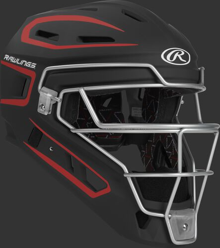 Front right of a black/scarlet CHV27J Rawlings Velo 2.0 catcher's helmet
