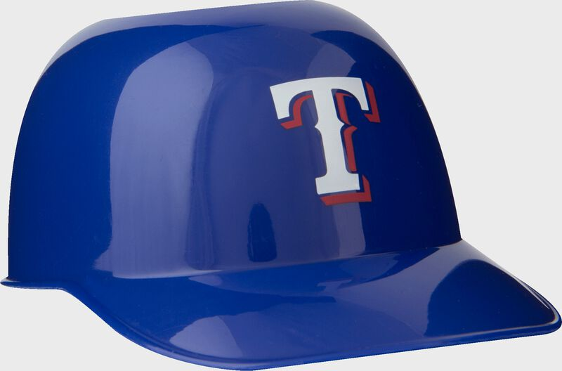 Front of Rawlings Blue MLB Texas Rangers Snack Size Helmets With Team Logo SKU #01950022121