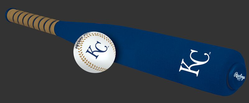 Side of Rawlings Kansas City Royals Foam Bat and Ball Set in Team Colors With Team Name and Logo On Front SKU #01860026111