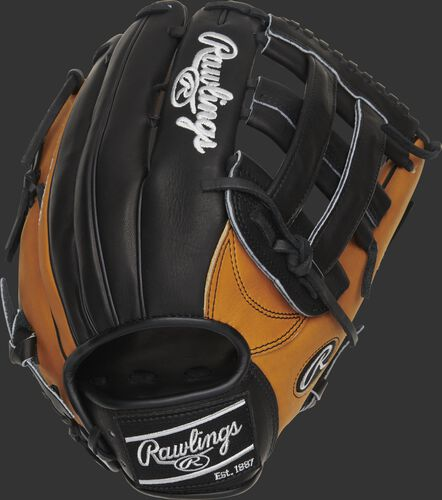 Black back of a Heart of the Hide Horween H-web glove with horween tan trim and a black Rawlings patch - SKU: PRO3039-6HTB