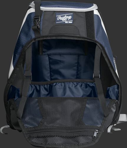 An open R500 Rawlings Players equipment backpack with navy interior