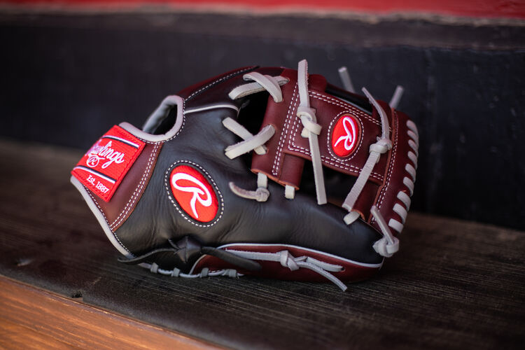 A R9 Series I-web glove sitting on the bench in a dugout - SKU: R9204-2BSG