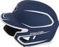 Left side of a MACHEXTR junior Rawlings batting helmet with a two-tone matte navy/white shell image number null