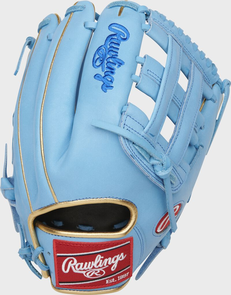 Back of a Columbia blue Kris Bryant Heart of the Hide H-web glove with a red Rawlings patch - SKU: RSGPROKB17-6CBG