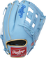 Back of a Columbia blue Kris Bryant Heart of the Hide H-web glove with a red Rawlings patch - SKU: RSGPROKB17-6CBG image number null