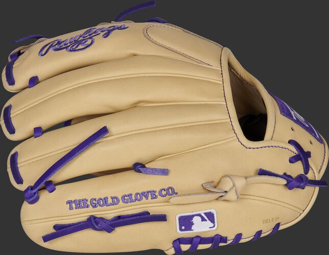 Camel back of a Heart of the Hide Trevor Story infield glove with the MLB logo on the pinky - SKU: RSGPRONP4-2TS