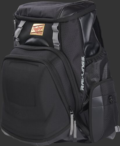 Front left of a black R1000 Rawlings Gold Glove Series equipment bag