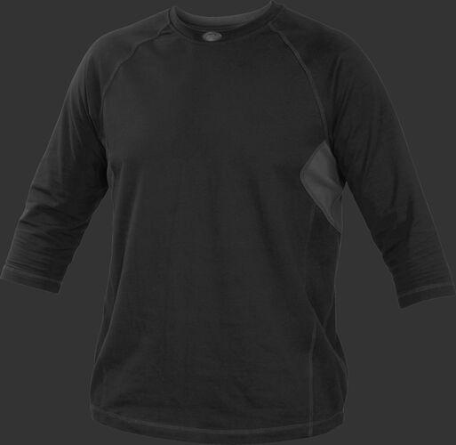 Front of Rawlings Black Youth 3-Quarter Length Sleeve Shirt - SKU #YRS34