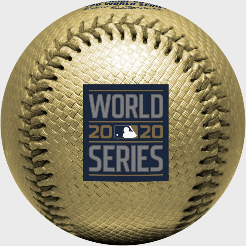 The 2020 World Series logo stamped on a gold replica baseball - SKU: 35010032286