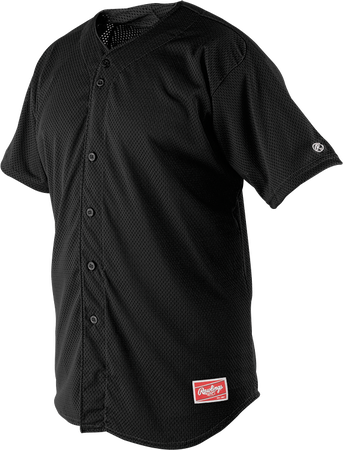 Front of Rawlings Black Youth Short Sleeve Jersey  - SKU #YBJ167