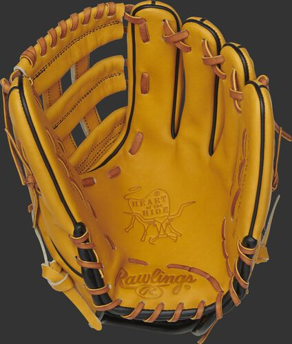 PRO206-6BU Rawlings Heart of the Hide infield glove with a butterscotch palm, butterscotch web and tan laces