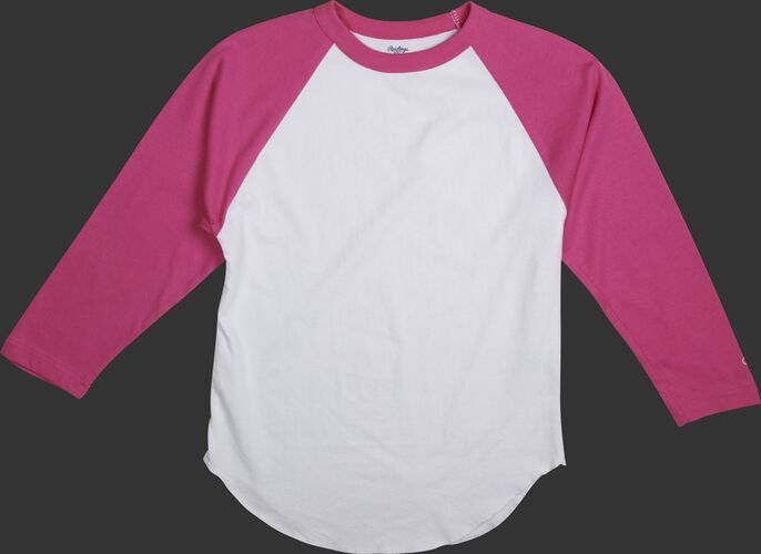 MTT3000 Adult 3/4 sleeve crew neck shirt with a white body and pink sleeves