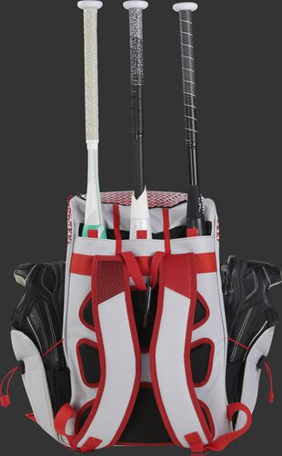 Back of a white/scarlet R800 fastpitch softball backpack with 3 bats in the bat compartment