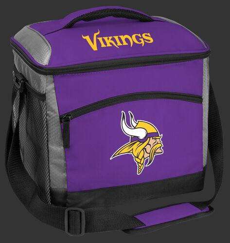A purple Minnesota Vikings 24 can soft sided cooler with screen printed team logos - SKU: 10211075111