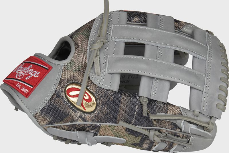 Thumb of a camo mesh/gray Gameday 57 Series Trent Grisham Heart of the Hide glove with a gold Oval-R - SKU: RSGPRO3029-TG2
