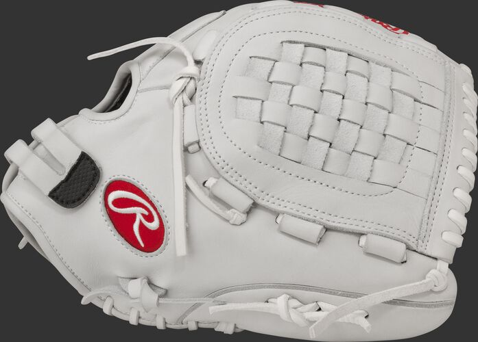 Thumb view of a white RLAKR Liberty Advanced 12.5-inch Keilani Ricketts gameday pattern glove with a white Basket web