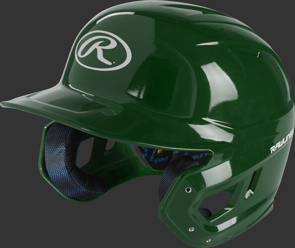 Front left of a dark green MCH01A Mach high school batting helmet