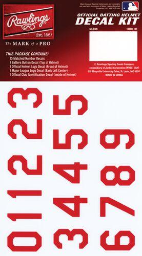 Rawlings MLB Cincinnati Reds Decal Kit With Red Numbers SKU #MLBDC-CIN