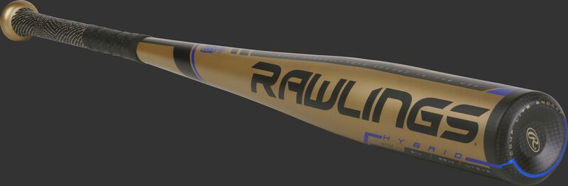 UT9V5 Rawlings 2019 Velo -5 bat with a gold one-piece construction and black/blue accents