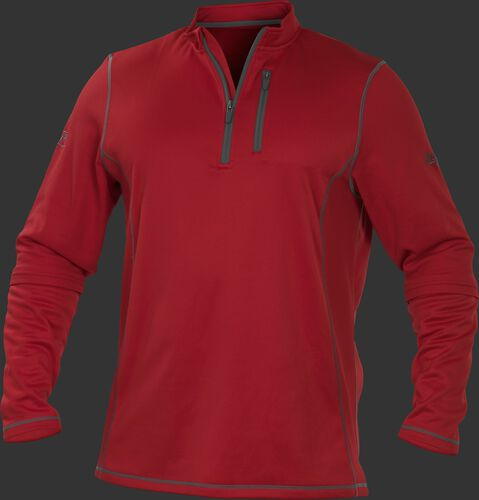 TECH2 Scarlet Rawlings quarter-zip fleece pullover with graphite chest pocket zipper