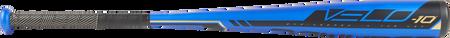Barrel of a US9V10 2019 Velo Hybrid USA baseball bat with a blue barrel and black accents