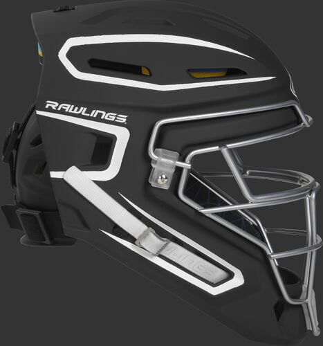Right side of a black CHMCHJ Mach junior size catcher's helmet