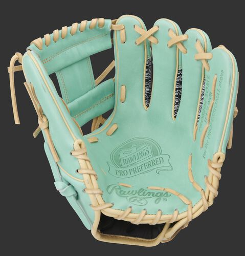 Ocean mint palm of a Pro Preferred Zebra Knit glove with an ocean mint web and camel laces - SKU: PROS204-2OMZ