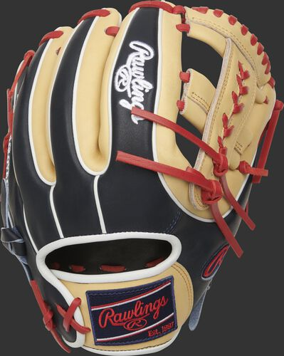 Back of a navy/camel 2021 Heart of the Hide Laced Single Post web infield glove with a navy Rawlings patch - SKU: PRO314-19SN