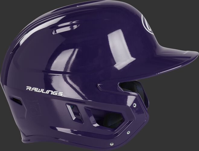 Right side ear flap of a MCH01A Rawlings Mach baseball batting helmet with a purple shell