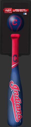 Rawlings Cleveland Indians Softee Mini Bat and Ball Set in Team Colors With Team Name and Logo On Front SKU #01160014114