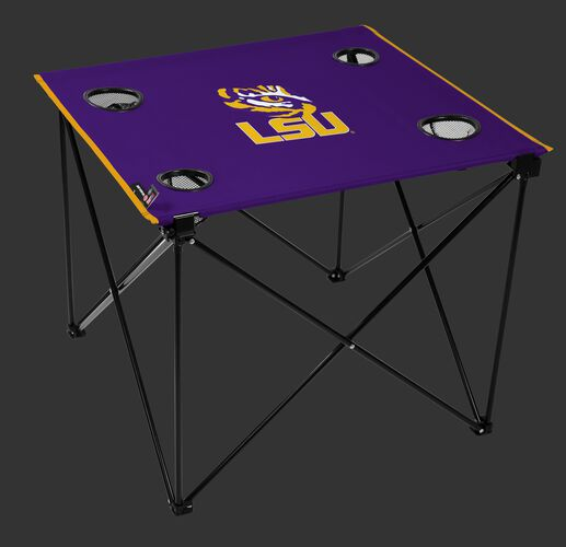 A purple NCAA LSU Tigers deluxe tailgate table with four cup holders and team logo printed in the middle SKU #00713035111