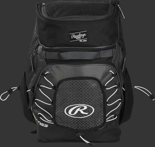 Front of a black R800 Rawlings softball backpack with a black patch and beaver tail external pocket