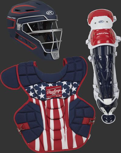 A navy Velo 2.0 Catcher's helmet, stars & stripes chest protector and red, white and blue leg guards - SKU: CSV2A