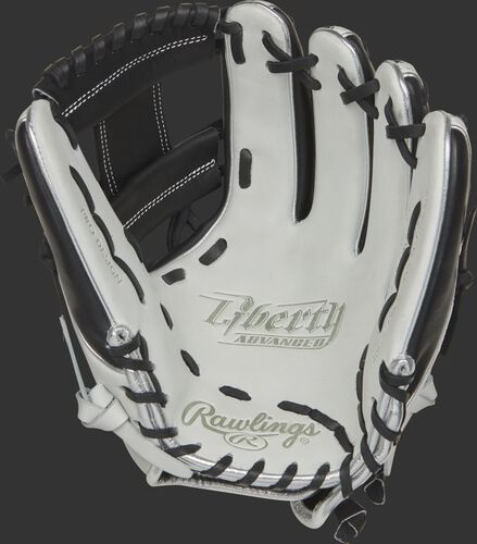 RLA715SB-2BP Rawlings Liberty Advanced Color Series glove with a white palm, black web and black laces