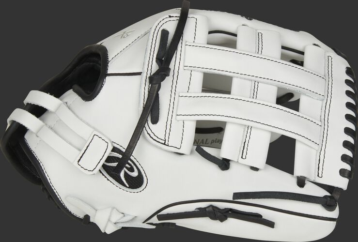 Thumb of a white/black 2021 Liberty Advanced 13-Inch fastpitch outfield glove with a white H-web - SKU: RLA130-6WB