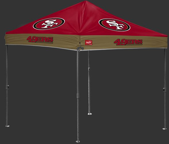 A red/gold NFL San Francisco 49ers 10x10 canopy with team logos on each side - SKU: 02231084111