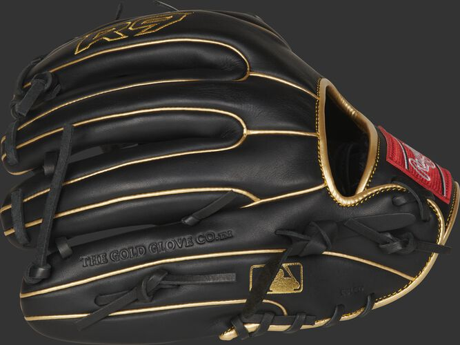 Black finger backs of a R9 infield glove with gold welting and MLB logo on the pinkie - SKU: R9314-2BG