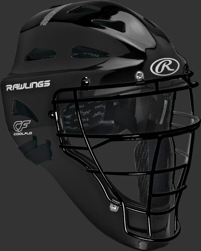 Front right of a black CHPLY Rawlings youth Players Series catcher's helmet