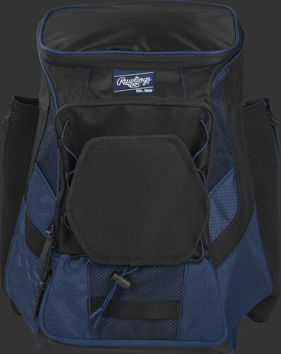 Front of a navy/black R600 Players team backpack