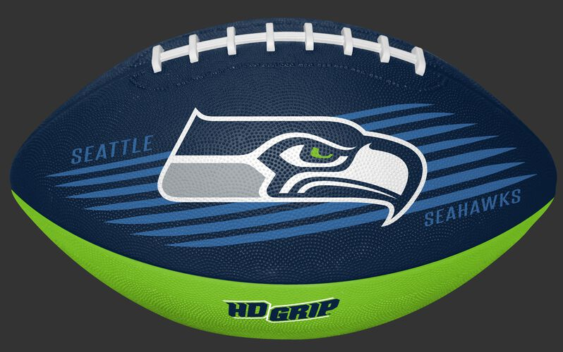 Navy and Bright Green NFL Seattle Seahawks Downfield Youth Football With Team Logo SKU #07731085121