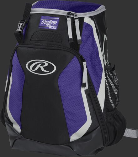 Left side of a black/purple R500 Players team backpack with white trim