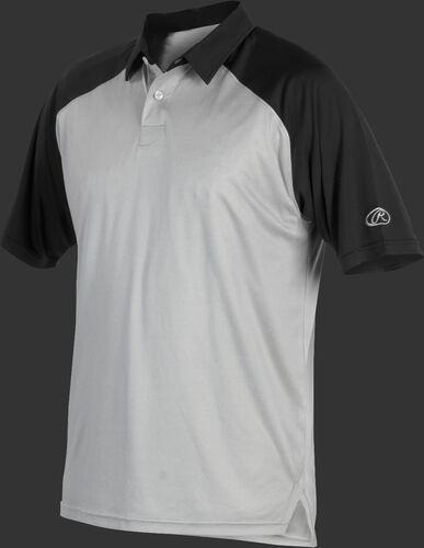 A gray Rawlings colorsync polo with black sleeves - SKU: CSP-BG/B