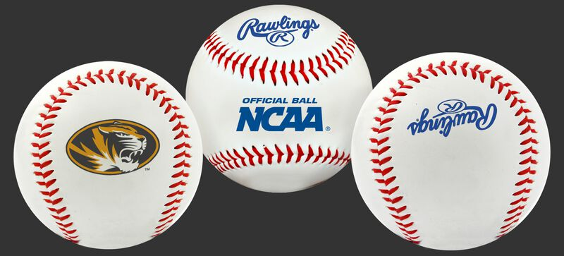 3 views of a NCAA Missouri Tigers baseball with a team logo, NCAA logo and Rawlings logo