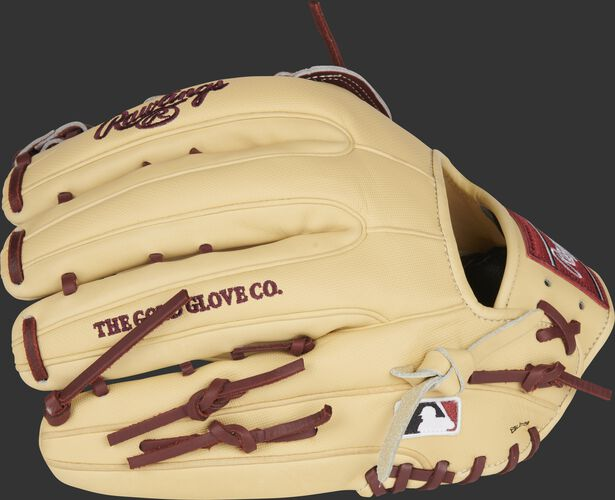 Camel speed shell back of a Rawlings Heart of the Hide ColorSync 5.0 outfield glove with the MLB logo on the pinky - SKU: PRO3319-6CSH