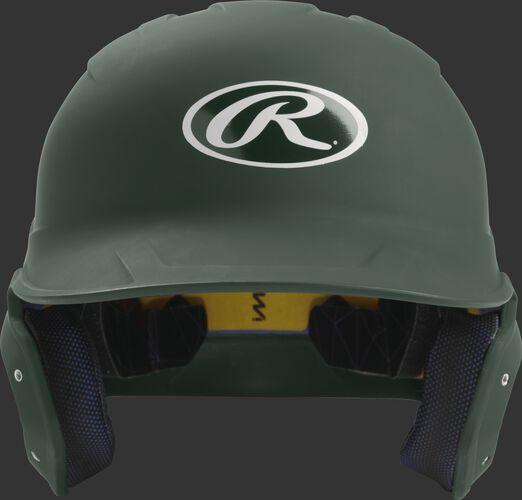 Front of a matte dark green MACH senior size batting helmet