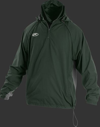 Front of Rawlings Dark Green Adult Long/Short Sleeve Jacket - SKU #TRITHR-DG-91