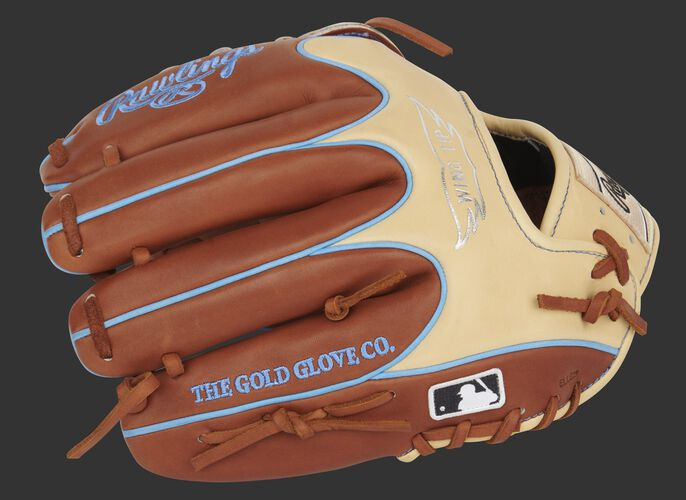 Bruciato finger backs of a Pro Preferred Wing Tip glove with the MLB logo on the pinkie - SKU: PROS205W-6BRC